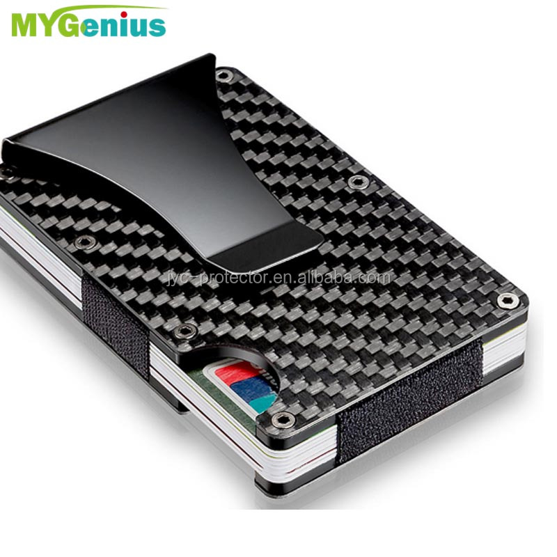 Rfid card wallet ,s0hfw4 slim carbon fiber leather credit card holder