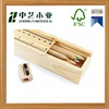 FSC natural colour handmade custom design wooden pencil box with ruler lid