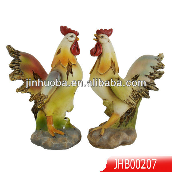 2013 new polyresin colored rooster figurine, resin farm collection