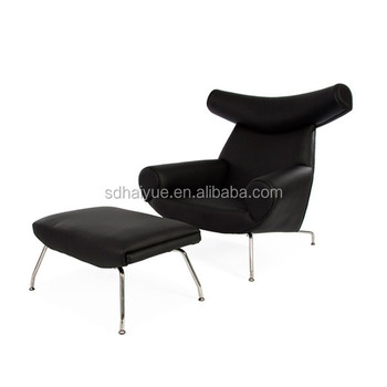 2017 Hot Sales Comfortable Replica PU/ Genuine Leather Hans J Wegner OX  Lounge Chair With
