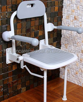 New Design Aluminum Folding Shower Chair With Back,Wall Mounted ...