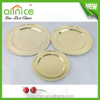 Hot Sale Stainless Steel Gold Dinner PlateCharger PlatesAntique