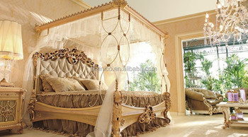 Royal Place Golden Color Wooden Four Poster Canopy Bed/Italian Classic  Bedroom Furniture(MOQ