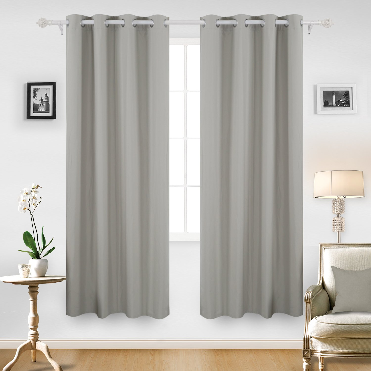 Deconovo Textured Thermal Insulated Blackout Curtain Heavy Fabric Drapes With Coating Back Layer For Bedroom 52Wx63L Inch One Pair Grey