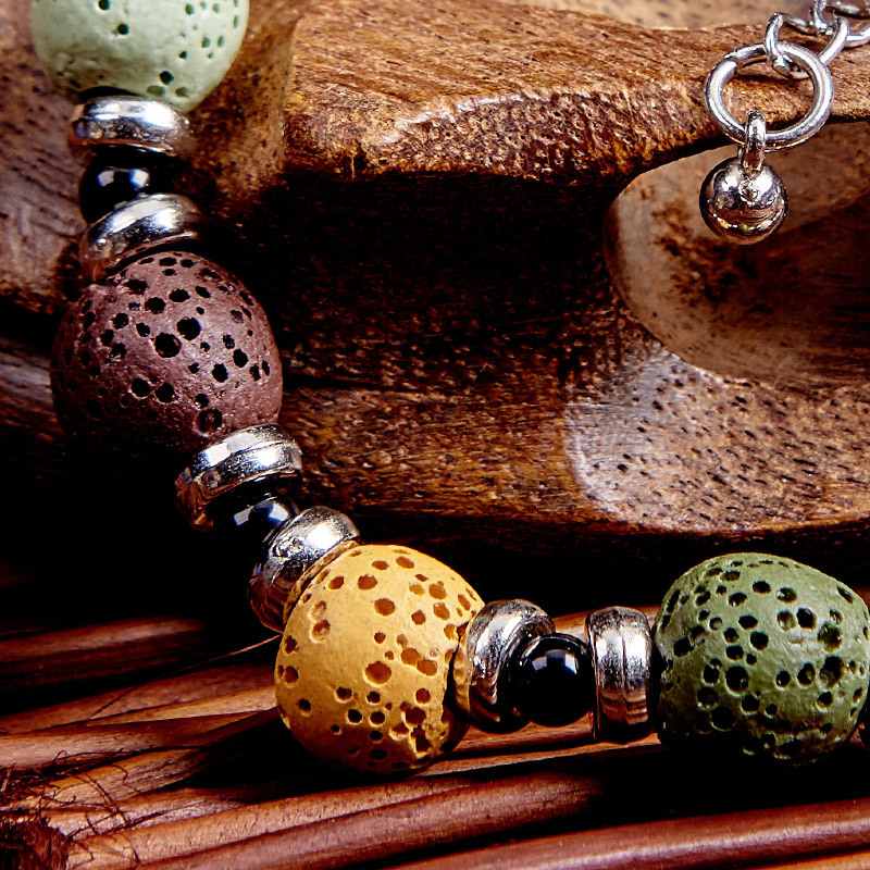 Bohemia Volcanic Stone Bracelet National Wind Original Handmade Jewelry Retro Essential Oil Diffuser Bracelet Gift Free Shipping