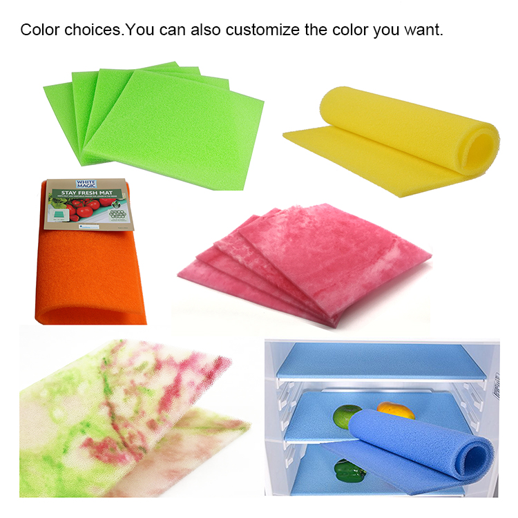 Anti Mould Foam Sponge Fridge Shelf Drawer Mat, Fruit and Vegetable Fresh-keeping Mats, Fridge Bin Liner Set of 4