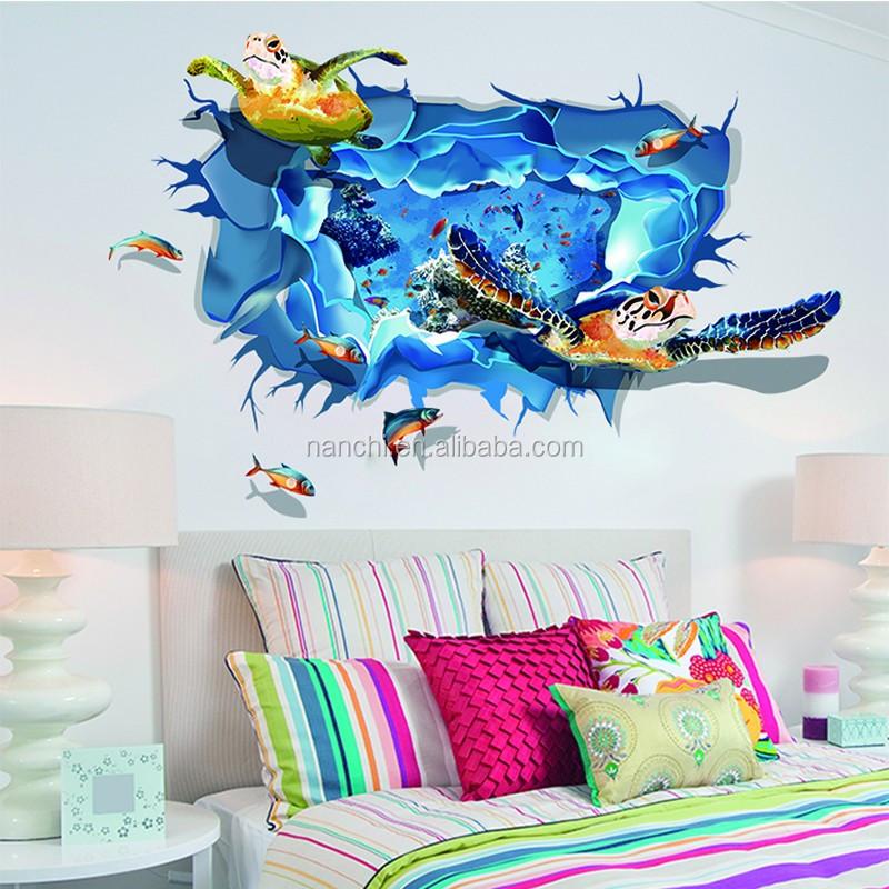 Nueva tortuga de mar pegatinas de pared 3d tipo etiqueta for Collant mural francais