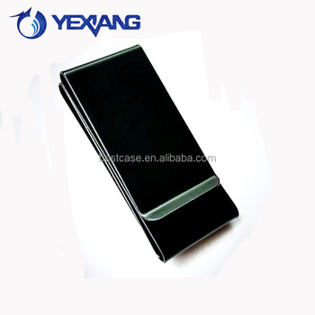 Best Gift High End Personalized Stainless Steel Folding Slim Metal Wallet Money Clip Black Silver Money Clip with Custom Logo