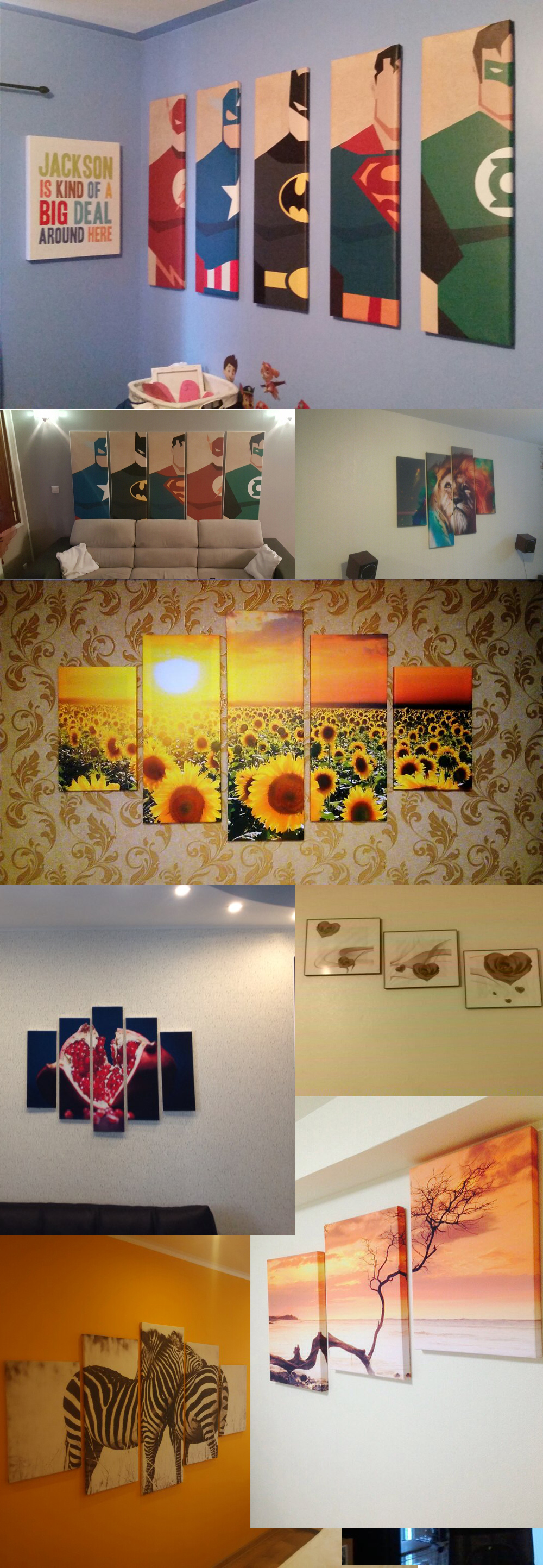 Cartoon Room: Unframed 5 Pieces Wall Art Oil Canvas Painting Printed
