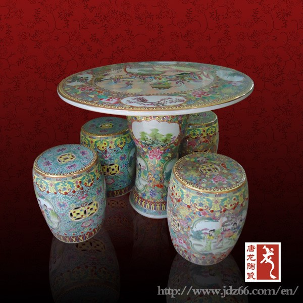Antique round Chinese porcelain table with stools