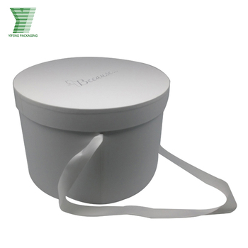 Round Hat Box With Lid And Handle Ribbon Custom Logo Buy
