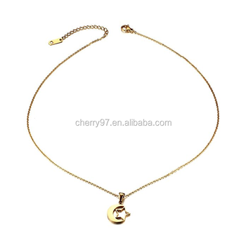 Jewelry Women s Stainless Steel Gold Plated Hollow Star   Crescent Moon  Pendant Necklace 36894dc8ab