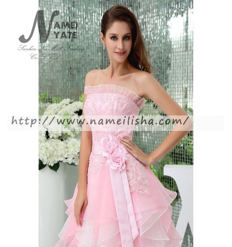 2017 tulle + satén corto mini Pink flor hecha a mano diseño vestido ...