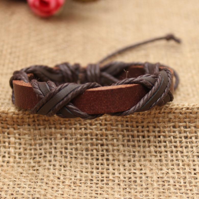 Корейский ювелирные изделия мужчины плетеная ткань кожа браслет искусственный женское панк пара браслет