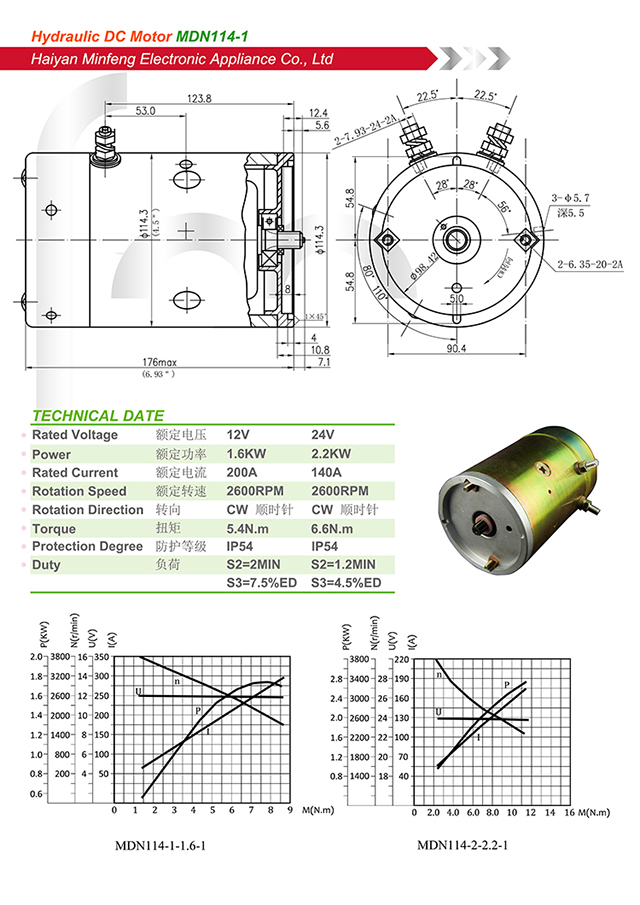 24V 1.5KW power unit dc motor in hydraulic parts O.D 114mm factory selling in tail lift