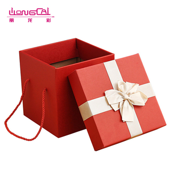 2017 recycled red high end handled luxury hardcover flower packaging gift box with ribbon