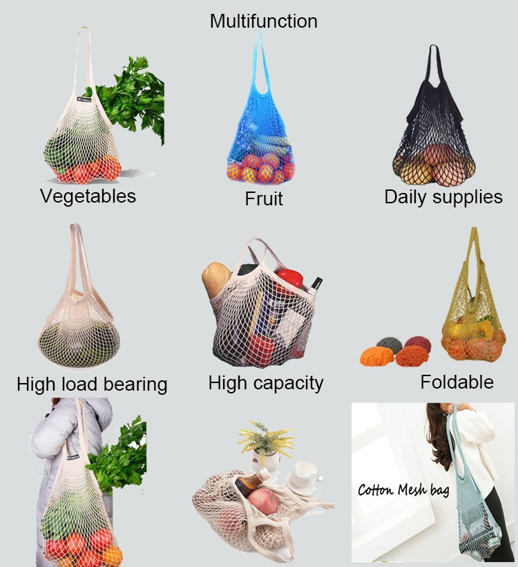Reusable Grocery Tote Shopping ผ้าฝ้ายตาข่ายกระเป๋า