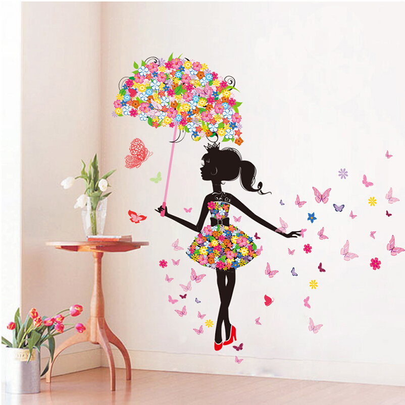 DIY-Wall-Stickers-PVC-large-wall-sticker-Pink-girl