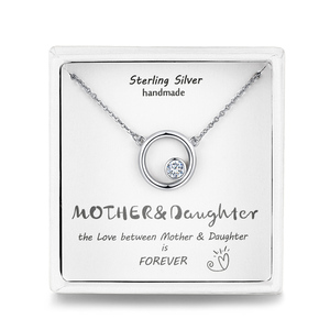 Qings Mother Daughter Necklace 925 Sterling Silver Plated Platinum Necklace Jewelry 2019 Mothers Day Gift