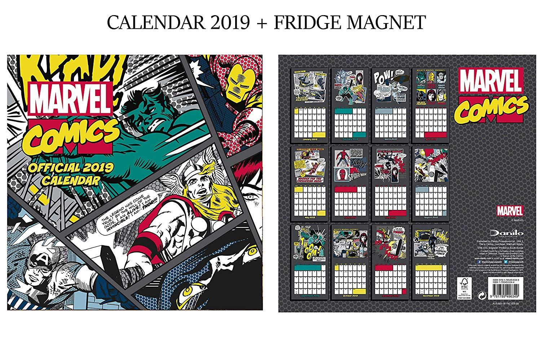 Marvel Comics Classic Official Calendar 2019 + Marvel Fridge Magnet