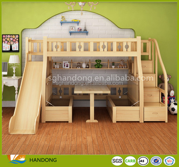 Kids Table Seat Underneath Loft Stairway Bunk Bed With