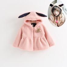 Warm Winter Baby Girls Princess Kids Children Fleece Thicken Cute Rabbit Hooded Cotton Padded Jackets Outwear