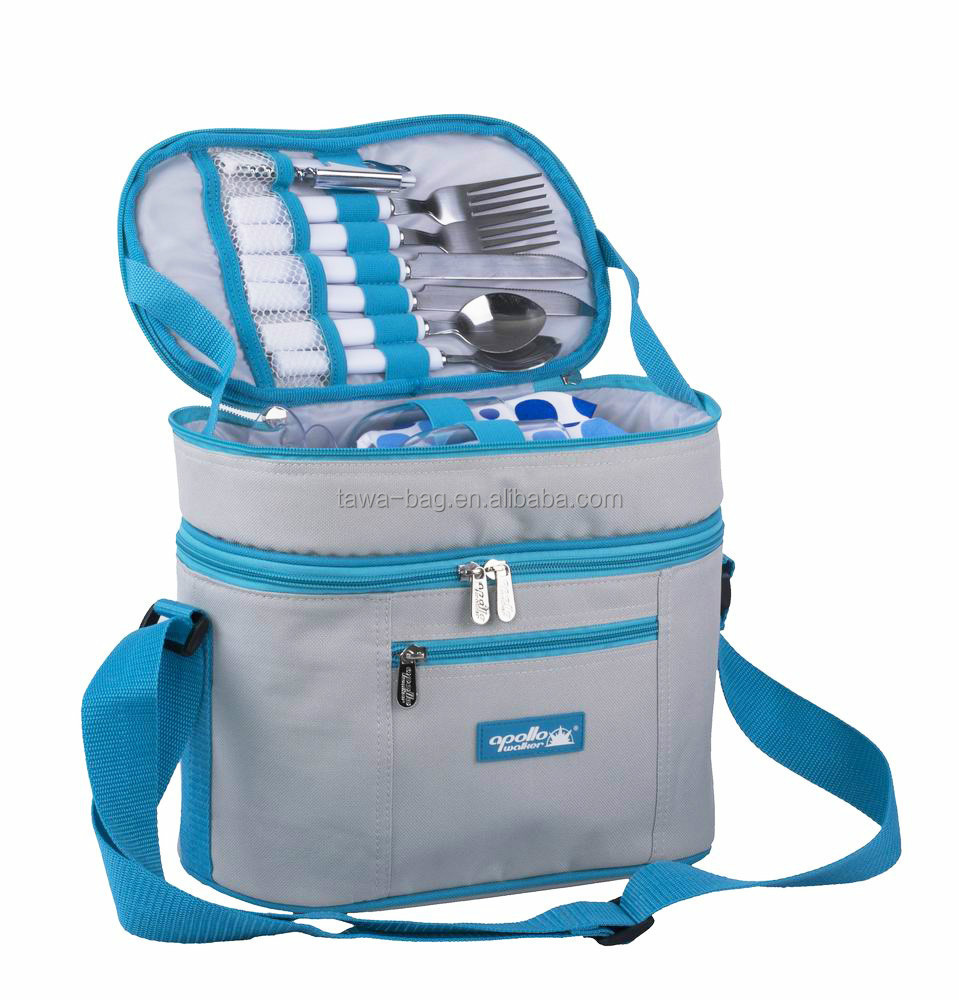 Hot sale dual compartment 2 Persons Picnic cooler bag for girls