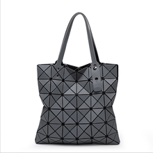 Bao bao style 6X6 foldable matt frosted diamond ladies tote shopping bags