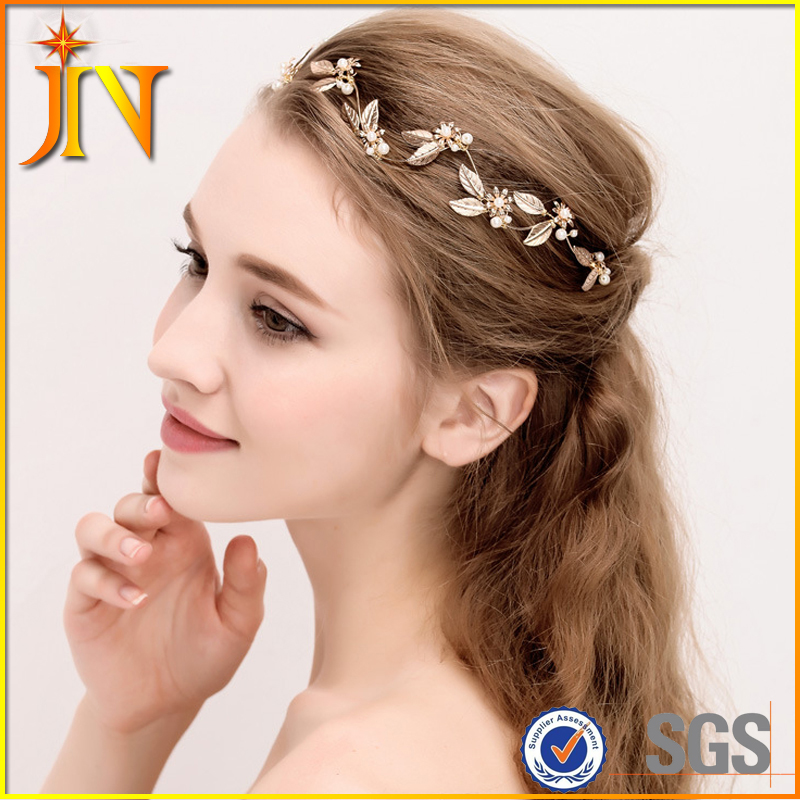 HB0077 JN Vintage Baroque crown Bridal headband Wedding hair accessories golden leaf tiara gold jewelry pearl hair bands