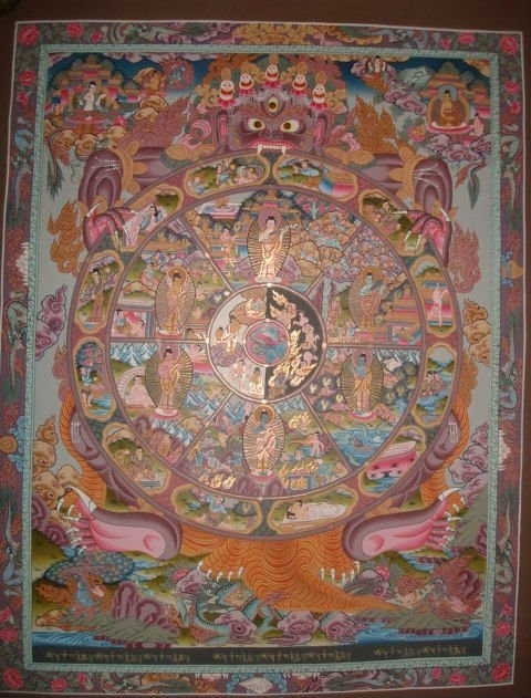Tibetan Thangka - High Quality Wheel Of Life Tibetan Thangka Handmade in Nepal