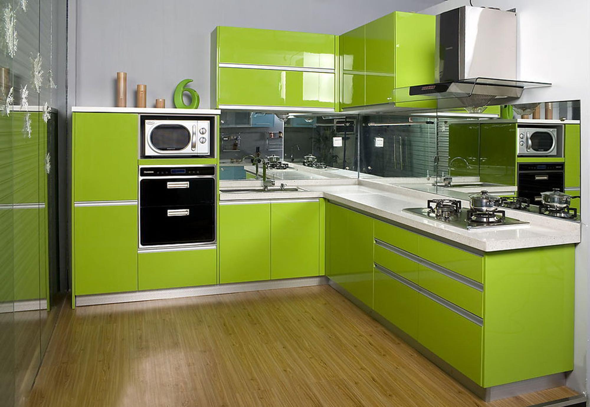 Exquisite Tempered Glass Kitchen Cabinet Door Green - Buy ...