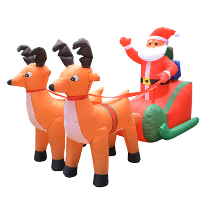 210cm-Giant-Inflatable-Santa-Claus-Double-Deer-Sled-Blow-Up-Fun-Toys-For-Child-Christmas-Gifts