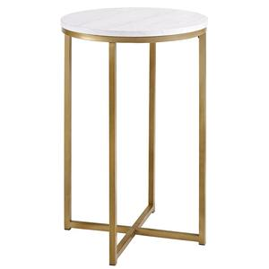 Home furniture gold finish faux marble top round side table end table with X-base