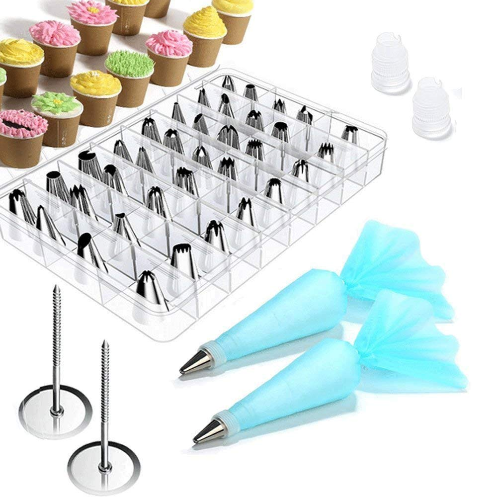 Cake Decorating Supplies Kit - Vivoice 38 Pieces Cake Decorating Tips Set Storage Case with 32 Stainless Steel Icing Tips, 2 Silicone Pastry Bag, 2 Flower Nails, 2 Reusable Plastic Couple(38 Pieces)