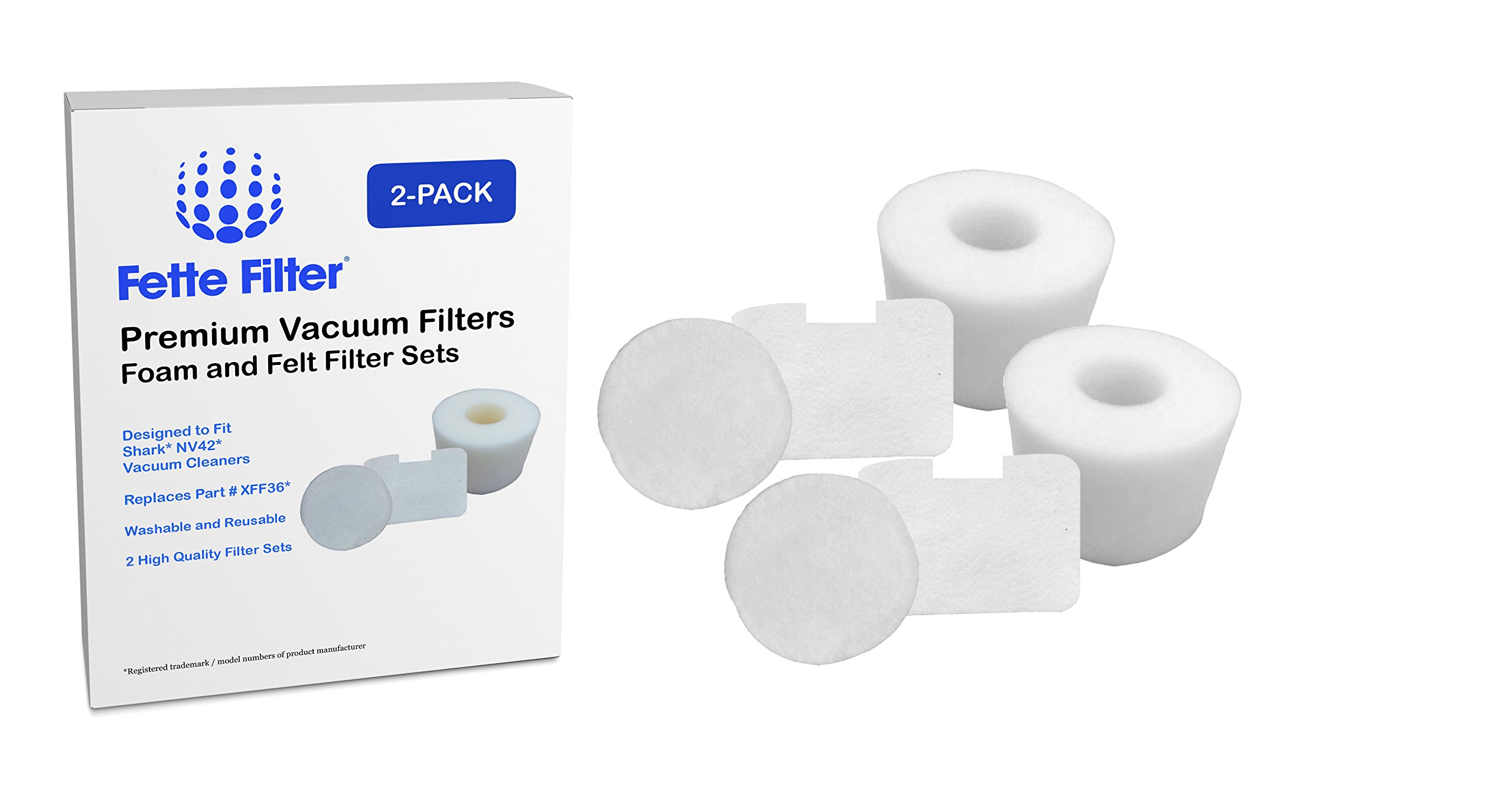 2 Pack - Shark NV42 Compatible Foam & Felt Filter Kit for Shark Deluxe Upright Vacuum Cleaner. Replaces Part #XFF36