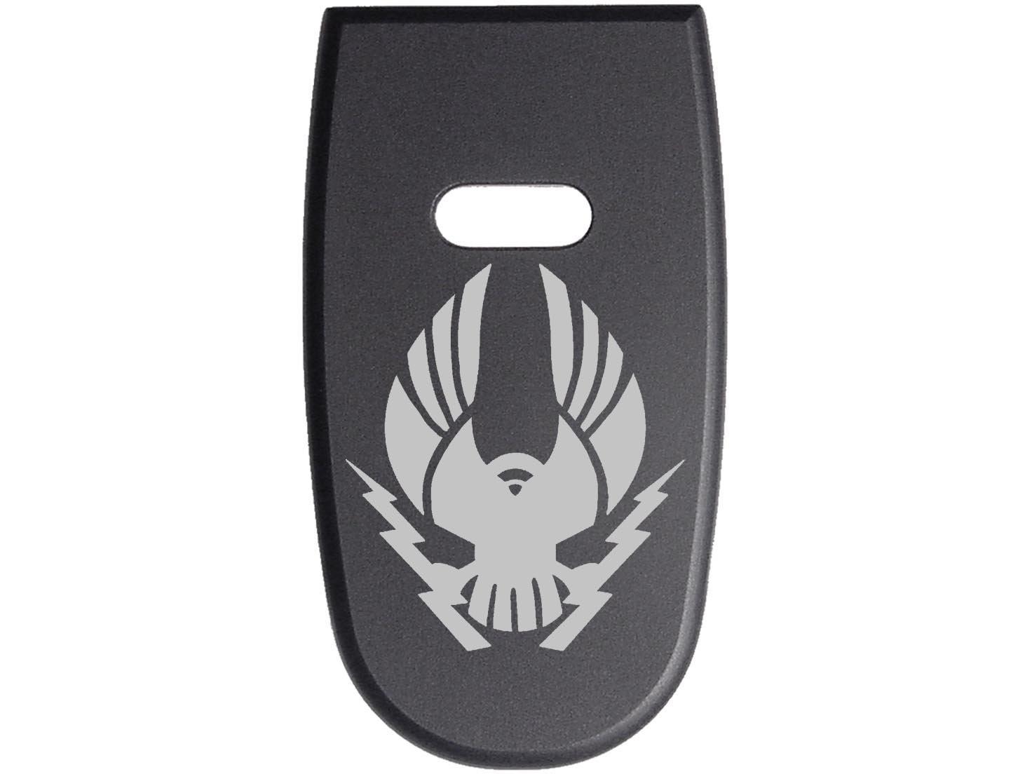 for S&W M&P Shield .45 Aluminum Floor Base Plate Black Custom Laser Engraved: Military Eagle Lightning By NDZ Performance