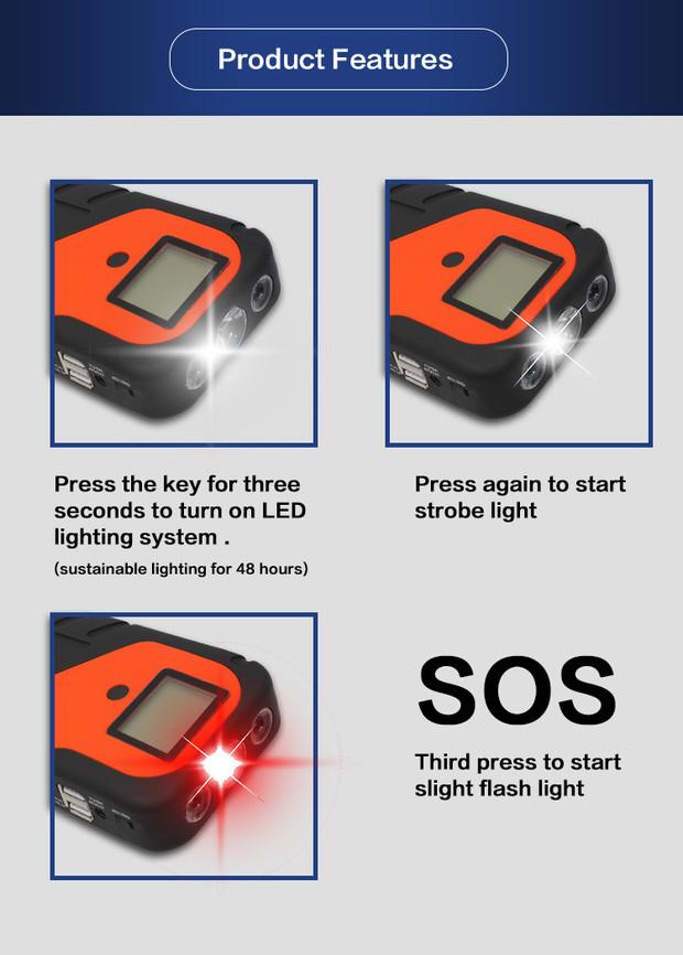 KUROKO جديد سيارة أدوات الطوارئ الطاقة سيارة كاتب بنك الطاقة 13000 مللي أمبير مع شحن سريع مزدوج 5 V/2.4A ، 9 V/2A ، 12 V/1.5A