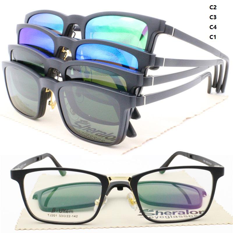 c603e157170631 Drop schiff 201 ULTEM kombiniert metall brille rahmen stecker magnetische  clip auf polarisierte sunlens rezept sonnenbrille