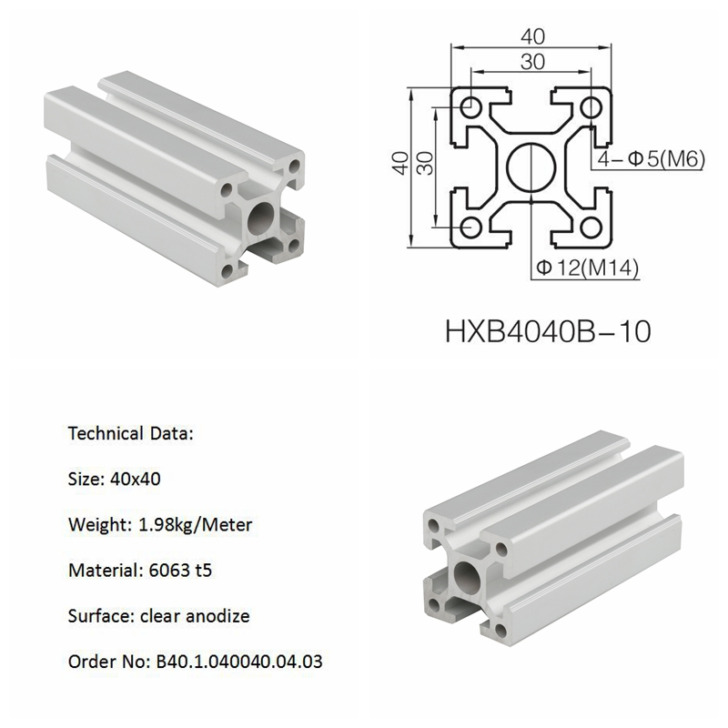 Industry aluminum t-slot v-slot hollow extrusion profile 1515 2020 4040