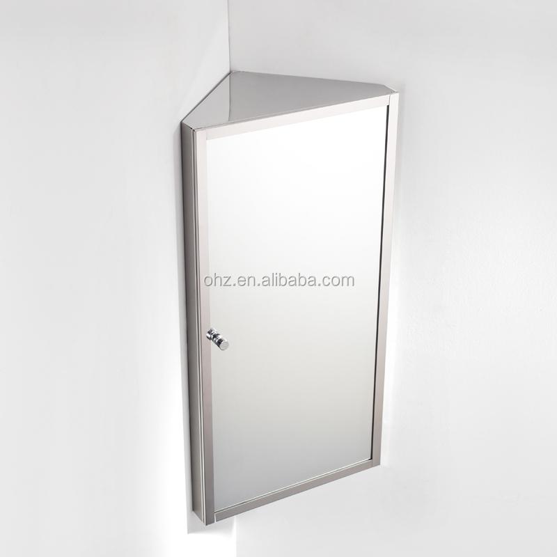 7041 mural en acier inoxydable salle de bains coin miroir cabinet meuble lava - Meuble salle de bain coin ...