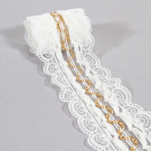 New fashion polyester mesh lace trim with gold metal chain