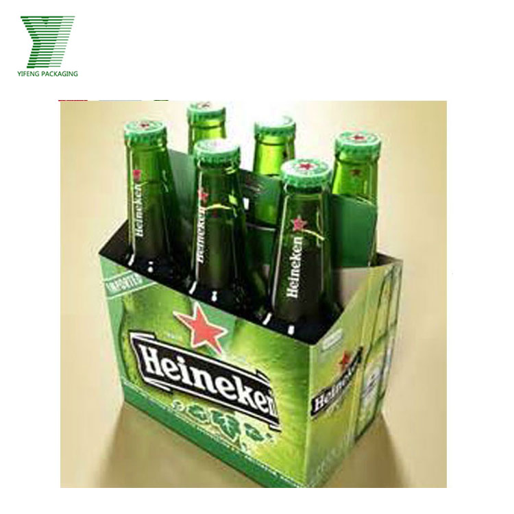 Recyclable Corrugated Cardboard Custom Printed 6 Pack Cardboard Beer Bottle Carrier
