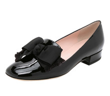 patent leather oxfords womens casual shoes with bow black Oxford leather shoe low heel