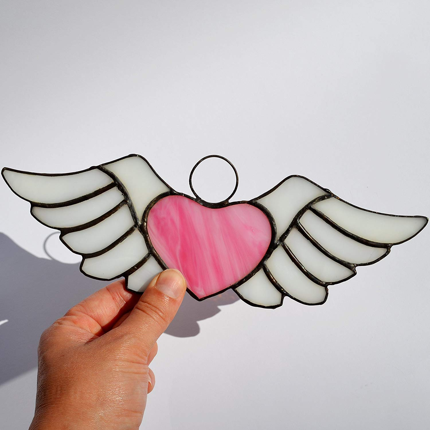 Pink heart with wings decoration made of stained glass