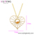 00982 xuping luxury cz love heart long jewelry fashion necklaces, 14k gold plated jewelry necklace