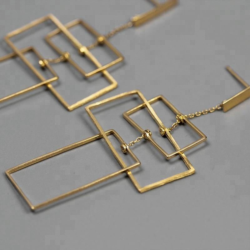 Fashion Geometric Rectangular Silver unique jewelry, As photo