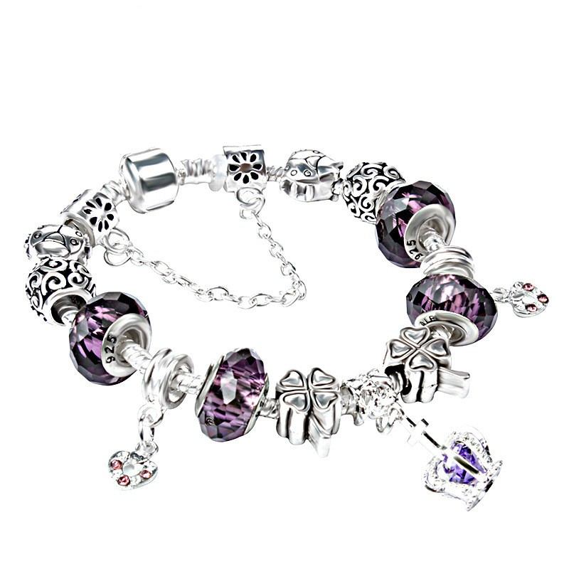 Hot Sale Colorful Glass Beads Snowflake Shape Metal Charm Bracelet