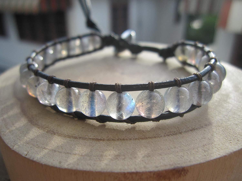 Labradorite Bracelet Single Wrap Bracelet On Black Leather - Custom size 6.5-9.5