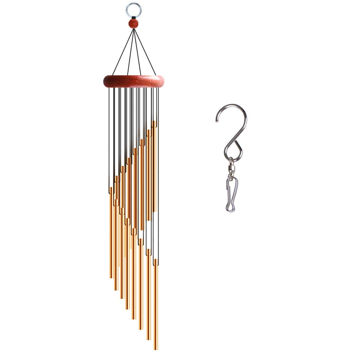 Chasgo Wind Chime Outdoor Indoor Amazing Grace Memorial Wind Chime Deep Tone with Melody Bells Sounding Musical, Gold