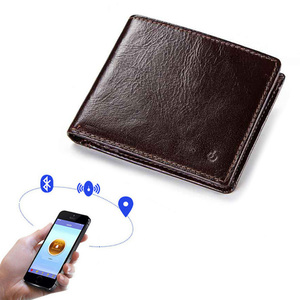 RFID smart GPS bluetooth anti lost security fashion slim genuine leather purse wallet for men